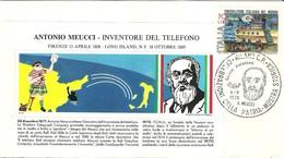 """2167 """"  ANTONIO MEUCCI - INVENTORE DEL TELEFONO - 4/9/1976 """" FDC ORIGINALE - 6. 1946-.. Repubblica"""