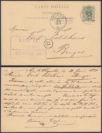 BELGIQUE EP 5c Vert AMBULANT EST 2 Du 30/01/1894 +VERVIERS Encadre RR (DD) DC-1292 - Stamped Stationery