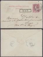 BELGIQUE EP 10c Rouge AMBULANT OSTENDE-VERVIERS Du 28/11/1890 +ANS Encadre (DD) DC-1306 - Stamped Stationery