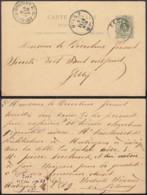 BELGIQUE EP 5c VERTde EECLOO VERS GILLY AMBULANT OSTENDE_VERVIERS N° 1 Du 05/02/1889 (DD) DC-1312 - Stamped Stationery
