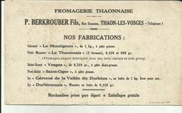 88 - Vosges - Thaon Les Vosges - Fromagerie- P.Berkrouber - Rue Suzanne - Réf.32. - Alimentaire