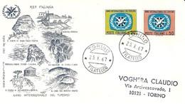 """2168 """"  ANNO INTERNAZIONALE DEL TURISMO-1967 - BUSTA FILAGRANO """" FDC ORIGINALE - 6. 1946-.. Republic"""