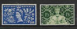 Great Britain,  EIIR, 1953 Coronation 4d, 1/3, MNH* * - Unused Stamps