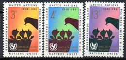 NATIONS UNIES - (Timbres Du Siège De NEW YORK) - 1961- N° 93 à 95 - (15è Anniversaire De L'U.N.I.C.E.F.) - New York -  VN Hauptquartier