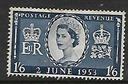 Great Britain,  EIIR, 1953 Coronation 1/6 , MH *, Toned - 1952-.... (Elizabeth II)