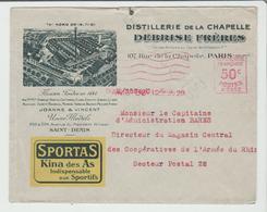 """PARIS: """" DISTILLERIE DE LA CHAPELLE Debrise Fres / LSC De 1928 Pour Armée Du Rhin TB - 1921-1960: Période Moderne"""