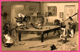 Cpa - Singes Humanisés Jouant Au Billard - Monkey - Singe Humanisé - Anthropomorphisme - Edit. KOPAL - 1903 - Ansichtskarten