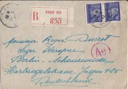 TP N° 521A X 2  SUR LETTRE RECOMMANDEE DE 1943 POUR ALLEMAGNE - 1941-42 Pétain