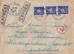 TP N° 521A X 3  SUR LETTRE EXPRES DE 1943 POUR ALLEMAGNE - 1941-42 Pétain