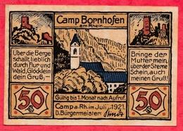Allemagne 1 Notgeld De 50 Pfenning Stadt Camp Borhofen (RARE) Dans L 'état  N °2888 - [ 3] 1918-1933: Weimarrepubliek