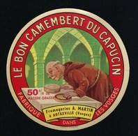 Ancienne étiquette Fromage Le Bon Camembert Du Capucin Fabriqué  Dans Les Vosges 88  Fromagerie A Martin Autreville - Cheese