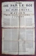 1783 . Affiche De La Vente Sur Licitation D'une Maison Rue St-Honoré à Paris Tenant à L'Hôtel D'Aligre . Folle Enchère . - Affiches