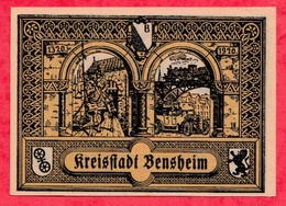 Allemagne 1 Notgeld De 50 Pfenning Stadt Bensheim (RARE) Dans L 'état  N °2892 - [ 3] 1918-1933 : République De Weimar