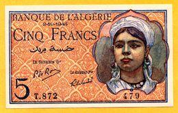 Algeria 5 Francs  2.10.1944  P. 94b - NEUF- UNC - Algérie