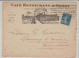 """PARIS: """" CAFE RESTAURANT D'ORSAY Buffet De La Gare / LSC De 1922 Pour Gournay TB - 1921-1960: Période Moderne"""