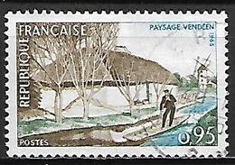 FRANCE   -   1965.    Y&T N° 1439 Oblitéré Cachet Rond  .   Paysage Vendéen  /  Moulin à Vent  /  Barque - Oblitérés