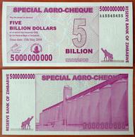 Zimbabwe 5 Billion Dollars 2008 UNC Radar 5545455 - Zimbabwe