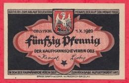 Allemagne 1 Notgeld De 50 Pfenning Stadt Oels (Olesnica -Silésie -Pologne) (RARE) Dans L 'état  N °2895 - [ 3] 1918-1933 : République De Weimar