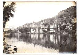 Capdenac. La Passerelle Sur Le Lot.Photo Originale  1903. - Francia