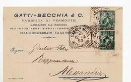 5006 ALESSANDRIA CASALE MONFERRATO GATTI BECCHIA VERMOUTH - 1900-44 Vittorio Emanuele III