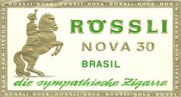 """2174 """" ETICHETTA ORIGINALE TABACCO ROSSLI - NOVA 30 - BRASIL """" ORIGINALE - Tabacco (oggetti Legati)"""
