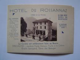 DEPLIANT Ancien : PUBLICITE HOTEL DU ROSSANNAZ / LE CHATELARD EN BEAUGES / SAVOIE - Publicités