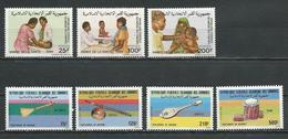 COMORES Scott 628-630, 631-634 Yvert 440-442, 443-446 (7) ** Cote 14,90 $ 1986 - Comores (1975-...)
