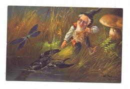 ZWERGE / Gnoms / Dwarfs / Dwergen / Nani / Nanos / Enanos - Künstler A.Schönian, Zwerg, Pilz, Krebs Und Libelle - Cartes Postales