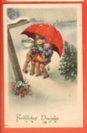 VAH-06 Bonne Année. Frähliches Neujahr. Enfants Sous Un Parapluie. Regenschirm. Circulé 1929 - Año Nuevo