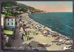 ALASSIO, Spiaggia Di Levante - Viaggiata - Negativo Bianco E Nero Colorato A Mano - Italia