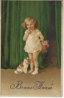 CPA FANTAISIE  - BONNE ANNEE - ENFANT - FILLETTE - CHAT - Scenes & Landscapes