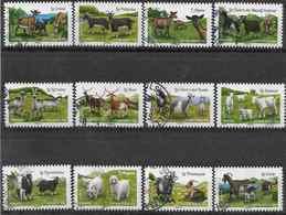 2015 FRANCE Adhésifs 1096-1107, Oblitérés, Cachets Ronds, Chèvres - France