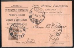 BARLETTA - 1926 - CARTOLINA COMMERCIALE - BOCCASSINI - PASTICCERIA CONFETTURE VINI - Negozi