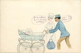 - Ref-B142- Illustrateurs - Illustrateur - Humour - Humoristiques -  Couple - Landeau - Bébé - Carte Bon Etat - - 1900-1949