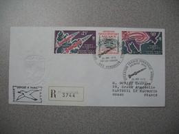 TAAF Lettre Recommandé Opération Franco-Soviétique Araks Kerguelen N°PA40/PA41 Du 26/1/1975 Avec Vignette Centrale PA41A - Airmail