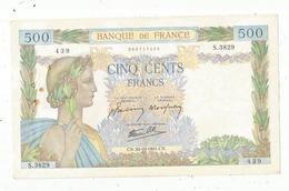 Billet , France , 500, Cinq Cents Francs, La Paix , 30-10-1941 , 2 Scans, Frais Fr 1.95 E - 1871-1952 Gedurende De XXste In Omloop
