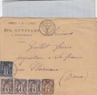 LETTRE. COVER. FRANCE 1882.  SAGE 1+4+4+4+2c. PATORNAY PONT DE POITTE JURA TO CLAIRVAUX.  /    3 - Non Classés