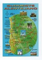 CARTE POSTALE POSTCARD PORTUGAL ALENTEJO SUDOESTE ALENTEJANO COSTA ALENTEJANA MAPS MAP CARTE GEOGRAPHIQUE - Beja