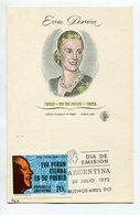 EVA PERON EVITA PERONISMO TARJETA OBLITERES DIA DE EMISION 1973 BS AS ARGENTINA FDC -LILHU - Famous Ladies