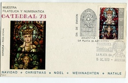 MUESTRA FILATELICA NAVIDAD CATEDRAL TARJETA OBLITERES DIA DE EMISION 1973 LA PLATA ARGENTINA FDC -LILHU - Christmas