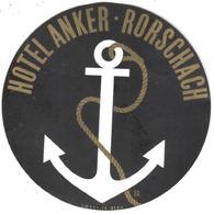 ETIQUETA DE HOTEL  - HOTEL ANKER  -RORSCHACH -SUIZA - Etiquetas De Hotel