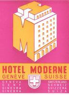 ETIQUETA DE HOTEL  - HOTEL MODERNE  - GENEVE  -SUIZA - Etiquetas De Hotel