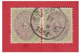DANEMARK -- ANTILLES -- DANSK VESTINDISKE -- FACIT N° 8 OBLITERE EN PAIRE-- - Dänemark (Antillen)