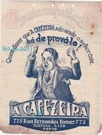 PORTUGAL COMMERCIAL INVOICE  - PORTO - A CAFEZEIRA - CAFÉ - CHÃ - COFFEE - 1937 - Portugal