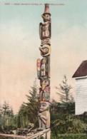 Fort Wrangell Alaska, Chief Shake's Totem, Native American Indian Art, Totem Pole, C1900s/10s Vintage Postcard - Altri