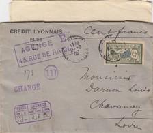 LETTRE. COVER. FRANCE. 1906. CHARGÉ 100F. CREDIT LYONNAIS PARIS TO CHAVANAY LOIRE + BORDEREAU D'ENVOI DE FONDS   /    4 - Briefmarken