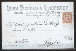 BARLETTA - 1896 - CARTOLINA COMMERCIALE - LUIGI PICCOLO E COMPAGNO - VICO POZZO S.AGOSTINO - Negozi