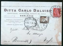 BARLETTA - 1931 - CARTOLINA COMMERCIALE - CARLO DALUISO - PRODOTTI DEL SUOLO - AGRICOLTURA - Negozi