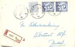 Belgique 1958 - Lettre Recommandée GENT - Flandre Orientale - Baudouin Lunettes - Chiffre Sur Lion - Cob 854, 926 - Belgique