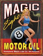 Rare Plaque Tôle HARLEY MAGIC EIGHT 8 MOTOR OIL Style EMAIL 20X30 VINTAGE USA USA ROUTE 66 USA MOTORCYCLE - Motos
